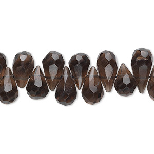 bead, smoky quartz (heated / irradiated), 7x4mm-10x5mm hand-cut faceted briolette, b grade, mohs hardness 7. sold per 16-inch strand.