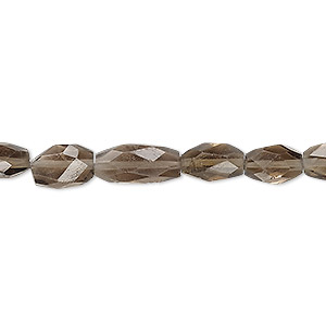 bead, smoky quartz (heated / irradiated), 8x5mm-11x7mm hand-cut faceted puffed oval, b grade, mohs hardness 7. sold per 7-inch strand.