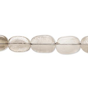 bead, smoky quartz (heated / irradiated), light to medium, 10x8mm-15x10mm hand-cut flat oval, d grade, mohs hardness 7. sold per 14-inch strand.