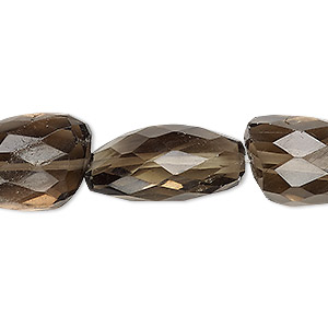 bead, smoky quartz (heated / irradiated), medium to large hand-cut faceted nugget, mohs hardness 7. sold per 7-inch strand.
