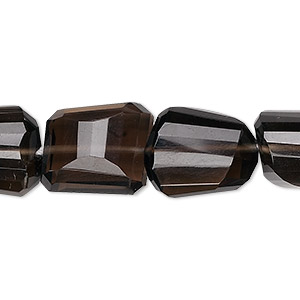 bead, smoky quartz (heated / irradiated), small to medium step-cut faceted nugget, mohs hardness 7. sold per 8-inch strand, approximately 14 beads.