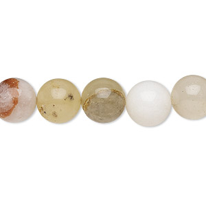 bead, snow quartz / cream quartz / golden quartz (natural / dyed), 9-10mm round, c- grade, mohs hardness 7. sold per 15-inch strand.