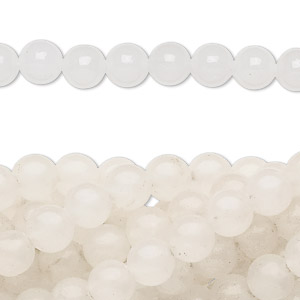 bead, snow quartz (natural), 6mm round, c grade, mohs hardness 7. sold per pkg of (10) 16-inch strands.