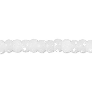 bead, snow quartz (natural), 6x4mm faceted rondelle, b grade, mohs hardness 7. sold per 16-inch strand.