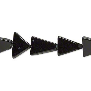 bead, snowflake and black obsidian (natural), 12x12x9mm-15x15x11mm hand-cut flat triangle, c grade, mohs hardness 5 to 5-1/2. sold per 14-inch strand.