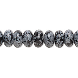 bead, snowflake obsidian (natural), 10x6mm rondelle, b grade, mohs hardness 5 to 5-1/2. sold per 16-inch strand.
