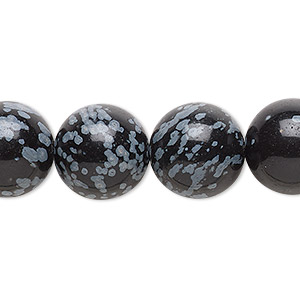bead, snowflake obsidian (natural), 14mm round, b grade, mohs hardness 5 to 5-1/2. sold per 16-inch strand.
