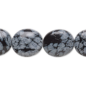 bead, snowflake obsidian (natural), 16x14mm flat oval, b grade, mohs hardness 5 to 5-1/2. sold per 16-inch strand.