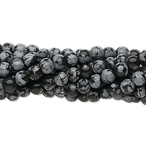 bead, snowflake obsidian (natural), 4mm round, c grade, mohs hardness 5 to 5-1/2. sold per pkg of (10) 16-inch strands.
