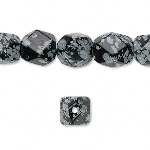 bead, snowflake obsidian (natural), medium to large tumbled faceted pebble, mohs hardness 5 to 5-1/2. sold per 16-inch strand.
