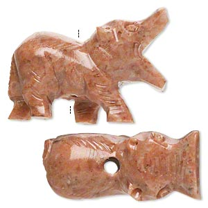 bead, soapstone (coated), 35x24mm-46x34mm hand-carved standing hippopotamus, c grade, mohs hardness 1 to 2-1/2. sold per pkg of 2.