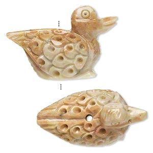 bead, soapstone (coated), 37x25mm-43x29mm hand-carved duck, c grade, mohs hardness 1 to 2-1/2. sold per pkg of 2.