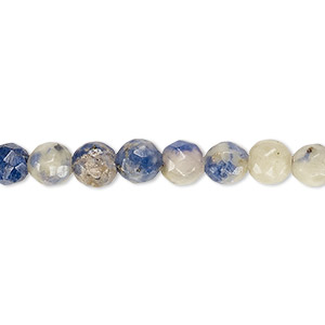 bead, sodalite (natural / dyed), 5-6mm faceted round, d grade, mohs hardness 5 to 6. sold per 15-inch strand.