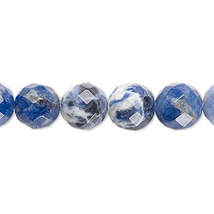 bead, sodalite (natural), 10mm faceted round, b grade, mohs hardness 5 to 6. sold per 16-inch strand.