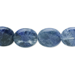 bead, sodalite (natural), 14x12mm flat oval, b grade, mohs hardness 5 to 6. sold per 16-inch strand.