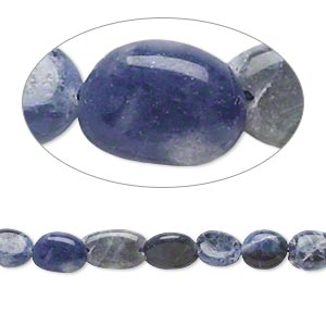 bead, sodalite (natural), 6x5mm-12x7mm hand-cut puffed oval, c grade, mohs hardness 5 to 5-1/2. sold per 14-inch strand.