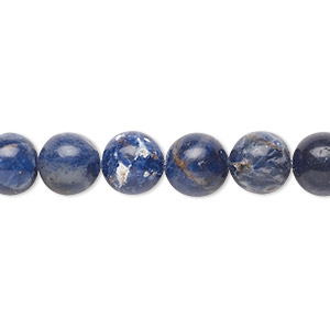 bead, sodalite (natural), 8mm round, c grade, mohs hardness 5 to 6. sold per pkg of (10) 16-inch strands.
