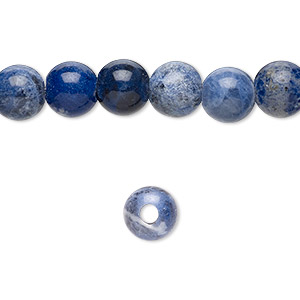 bead, sodalite (natural), 8mm round with 2-2.5mm hole, b grade, mohs hardness 5 to 6. sold per pkg of 10.
