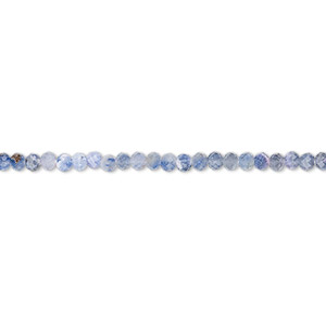 bead, sodalite (natural), shaded, 2mm hand-cut faceted rondelle, b grade, mohs hardness 5 to 6. sold per 13-inch strand.