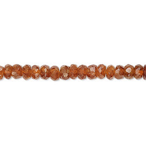 bead, spessartite garnet (natural), 3x1mm-4x3mm hand-cut faceted rondelle, c+ grade, mohs hardness 7 to 7-1/2. sold per 15-inch strand.