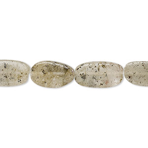 bead, spotted quartz (natural), 10x6mm-18x9mm hand-cut flat oval, c grade, mohs hardness 7. sold per 13-inch strand.