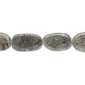 bead, spotted quartz (natural), 12x8mm-20x11mm hand-cut flat oval, c grade, mohs hardness 7. sold per 13-inch strand.