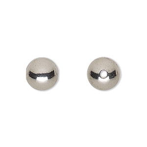 bead, stainless steel, 10mm round with 2mm hole. sold per pkg of 10.