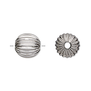bead, stainless steel, 12mm corrugated round, 2.5mm hole. sold per pkg of 10.