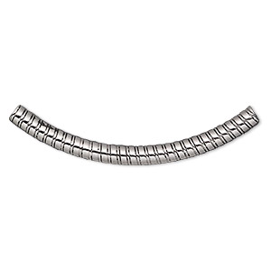 bead, stainless steel, 50x4mm curved round tube with spiral design, 2mm hole. sold per pkg of 2.