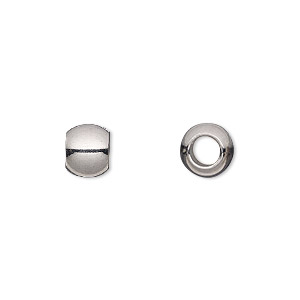 bead, stainless steel, 8x6mm rondelle with 4mm hole. sold per pkg of 10.