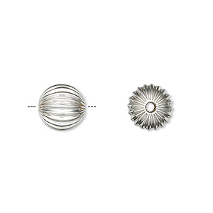 bead, sterling silver, 10mm seamless corrugated round. sold per pkg of 10.