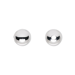 bead, sterling silver, 10mm seamless round, 2-2.5mm hole. sold per pkg of 2.