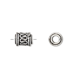 bead, sterling silver, 10x7mm cylinder. sold per pkg of 4.