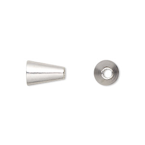 bead, sterling silver, 11x8mm smooth cone, 2.5mm inside diameter. sold per pkg of 6.