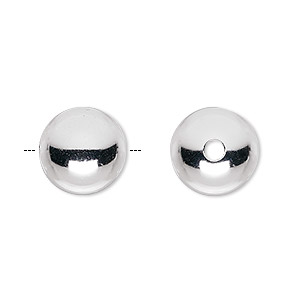 bead, sterling silver, 13mm seamless smooth round. sold per pkg of 6.