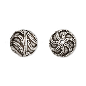 bead, sterling silver, 15mm round with swirls. sold individually.