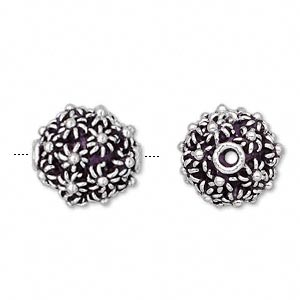bead, sterling silver, 15x14mm irregular round with small flowers.  sold individually.