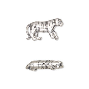 bead, sterling silver, 19x10mm bengal tiger. sold individually.