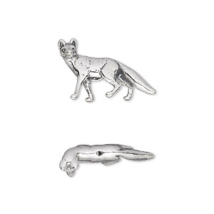 bead, sterling silver, 20x12mm fox. sold individually.
