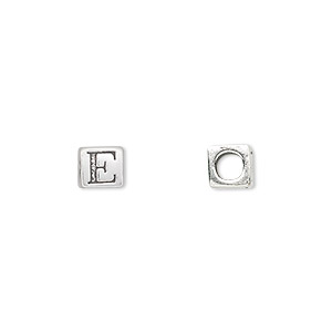 bead, sterling silver, 5.5x5.5mm cube with alphabet letter e and 3.5mm hole. sold individually.