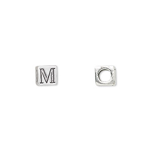 bead, sterling silver, 5.5x5.5mm cube with alphabet letter m and 3.5mm hole. sold individually.