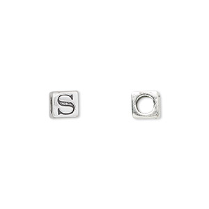 bead, sterling silver, 5.5x5.5mm cube with alphabet letter s and 3.5mm hole. sold individually.