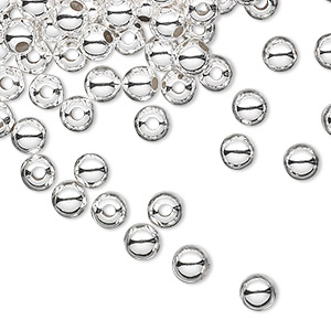 bead, sterling silver, 5mm seamless round. sold per pkg of 100.