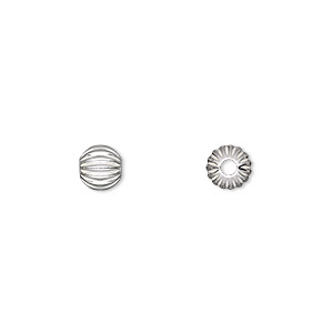 bead, sterling silver, 6mm seamless corrugated round with 2mm hole. sold per pkg of 2.