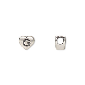 bead, sterling silver, 7.5x7mm heart with alphabet letter g and 3mm hole. sold individually.