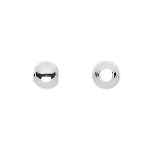 bead, sterling silver, 8mm seamless round with 4mm hole. sold per pkg of 50.