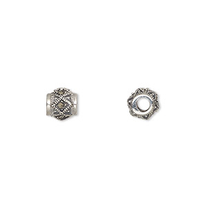 bead, sterling silver and marcasite, 7mm round with 2.75mm hole. sold individually.