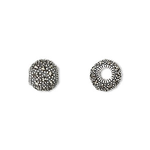 bead, sterling silver and marcasite, 9mm round beads with 3mm hole. sold individually.