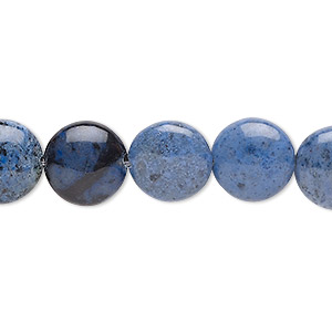 bead, sunset dumortierite (natural), 12mm puffed flat round, b grade, mohs hardness 6-1/2 to 7. sold per 8-inch strand, approximately 15 beads.