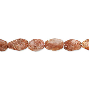 bead, sunstone (natural / dyed), 7x6mm-11x8mm hand-cut faceted puffed oval, c- grade, mohs hardness 6 to 6-1/2. sold per 6-inch strand.